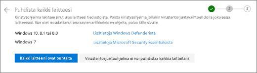 Näyttö kuva OneDrive-sivuston Tyhjennä kaikki laitteet-näytöstä