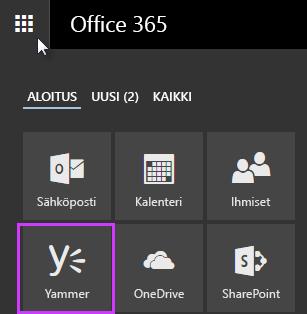 Näyttökuva Office 365 -sovelluksen käynnistimestä, jossa näkyy Yammer