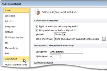 Outlookin asetukset -valintaikkunan Lisäasetukset-komento
