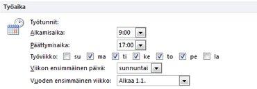 Outlookin asetukset -valintaikkunan Työaika-kohta