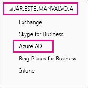 Näyttää Office 365 -järjestelmänvalvojan valikon. Kolmannen vaihtoehdon eli Azure AD:n valinta.
