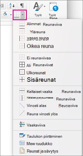 Lisää tai muuta valitun tekstin reunoja valitsemalla Aloitus-välilehdessä Reunat.