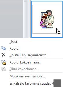 Esikatselu/Ominaisuudet--komennon avulla saat näkyviin kuvan laajemman version ja lisää tietoja kuvasta.