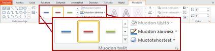 Muotoile-välilehti Piirtotyökalut-kohdassa PowerPoint 2010:ssä.