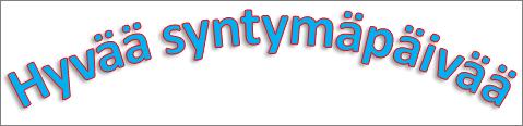 WordArt-objekti, johon on lisätty kaareva muuntotehoste ja varjostus