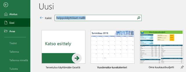 Tiedosto-valikon Uusi-väli lehti, jossa on käytössä Hae online-malleja-haku kenttä