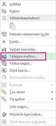 Pikavalikon Tallenna mallina -komento