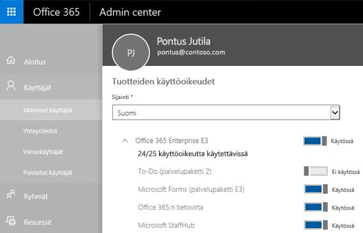 Näyttökuva, jossa näkyy Office 365 -hallintakeskuksen Tuotteiden käyttöoikeudet -sivu sekä To-Do-sovelluksen (palvelupaketti 2) vaihtovalitsin, joka on Käytössä-asennossa.