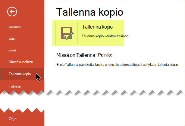 Tallenna A Kopioi-komento tallentaa tiedostoa online-tilassa onedrive for Business- tai SharePoint