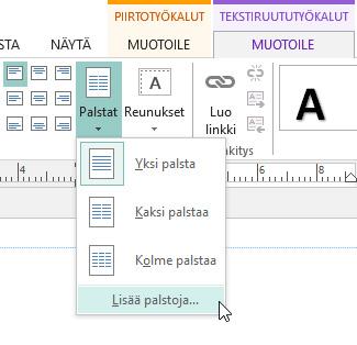 Tekstiruututyökalut - Palstojen välistys