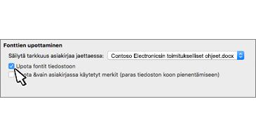 Fonttien upottaminen -valintaikkuna, jossa on valittuna Upota fontti tiedostoon -valintaruutu