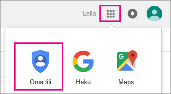 Valitse Google-sovellukset ja valitse sitten Oma tili