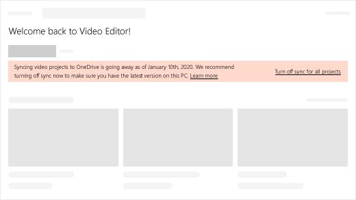 Videoprojektien synkronointi OneDriveen poistuu käytöstä 10.1.2020. Suosittelemme, että poistat synkronoinnin käytöstä nyt varmistaaksesi, että tässä tietokoneessa on uusin versio.