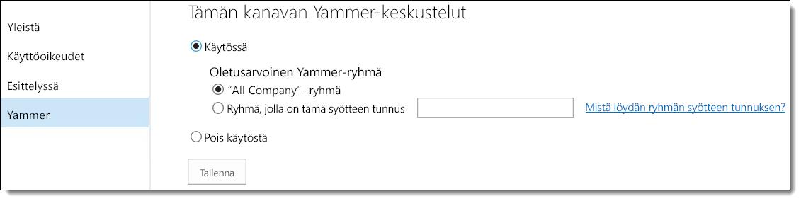 O365:n video, Yammer-asetukset