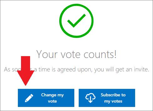 Äänestyspainikkeiden vahvistus-sivu