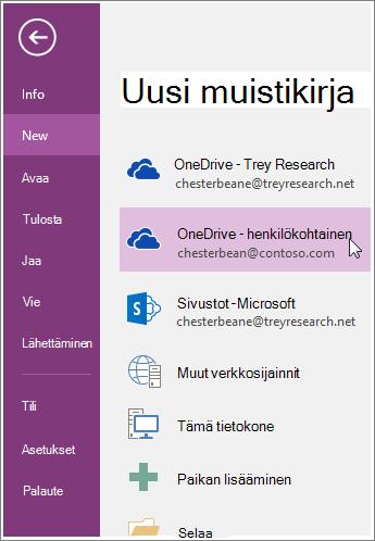 Näyttökuva uuden OneNote-muistikirjan luomisesta.