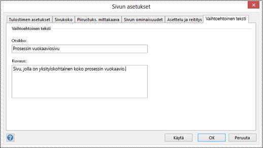 Sivun vaihtoehtoinen teksti -valintaikkuna Visiossa.