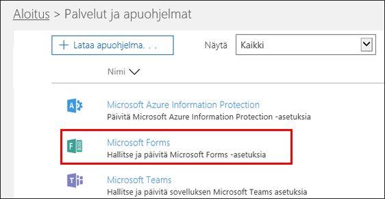 Microsoft Formsin järjestelmänvalvoja-asetukset