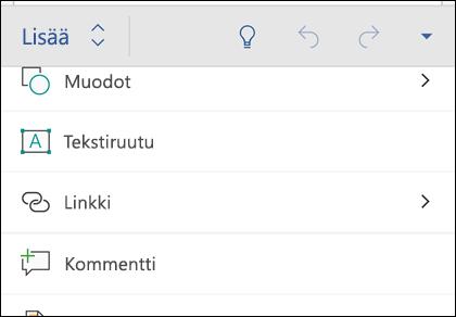 Lisää-valikosta voit lisätä esimerkiksi muotoja, linkkejä ja kommentteja.
