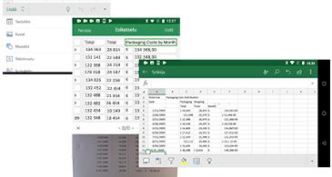 Valikko, esikatselunäkymä ja laskentataulukko tietoineen tallennettuna kuvaan