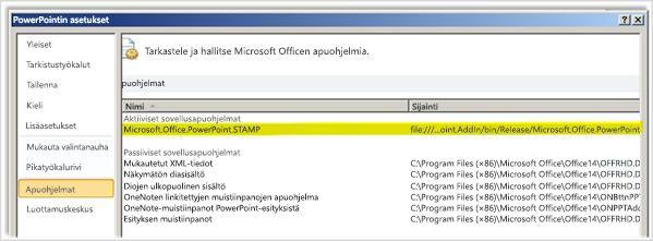 PowerPointin asetukset ja Apuohjelmat-ikkuna, jossa STAMP-apuohjelma on korostettu