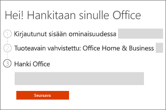 Valitse Office-tuotteesi.