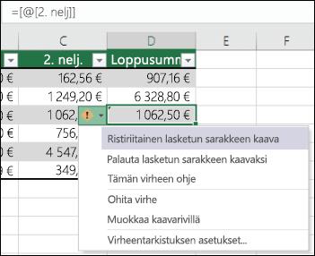 Ristiriitaisen kaavan virheilmoitus Excel-taulukossa