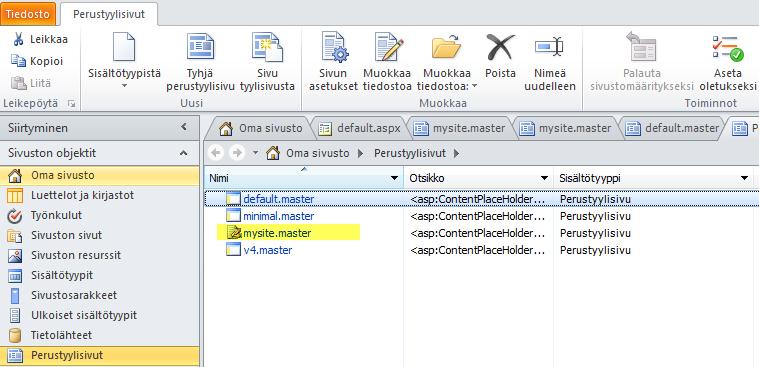 SharePoint 2010 -perustyylisivujen luettelo.