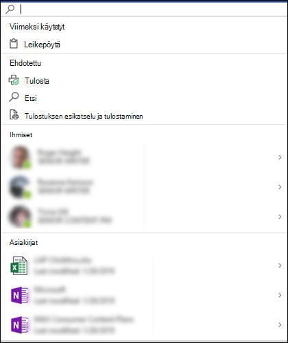 Microsoft Search -ruutu valittuna