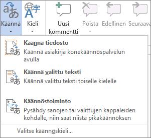 Office-ohjelmissa käytettävissä olevat käännöstyökalut