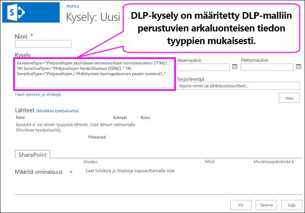 DLP-kysely, joka sisältää luottamuksellisia tietolajeja