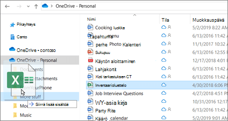 Kuva tiedoston siirtämisestä eri kansioon OneDrivessa.