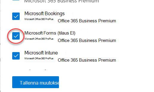Microsoft Forms-vaihto