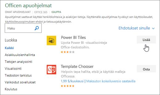Näyttökuva Office-apuohjelmat-sivu, jossa voit valita tai etsiä apuohjelma Exceliin.