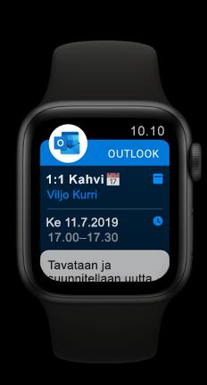 Apple Watch näyttää Outlookin tulevan kalenterin tapaamisen