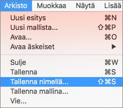 Näyttää Tiedosto > Tallenna nimellä -valikon PowerPoint 2016 for Macissa.