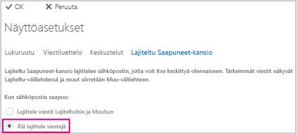 Poista Lajiteltu Saapuneet-kansio käytöstä valitsemalla Älä lajittele viestejä.