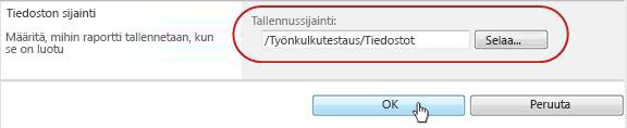 Napsauta OK-painiketta tiedoston tallennuspaikassa