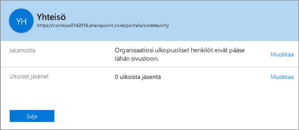 Tietyn sivustokokoelman jakamisen tilan valintaikkuna, kun jakaminen on poistettu käytöstä.