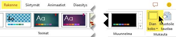 Dian koko -painike on työkalurivin valintanauhan Rakenne-välilehden oikeassa reunassa