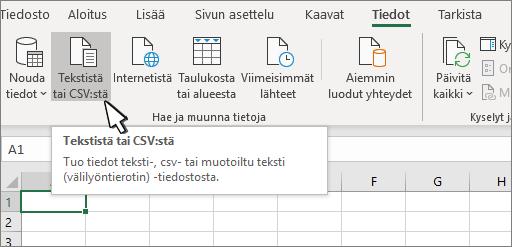 Teksti- tai CSV-tiedoston valitseminen Tiedot-välilehdestä
