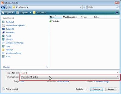 Tallentaminen tiedostona PowerPoint 2010:ssä.