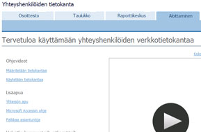 Yhteyshenkilöjen tietokantamallin aloittaminen -näyttö