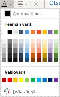 Näyttökuva Fontin väri -vaihtoehdosta Aloitus-valikossa.