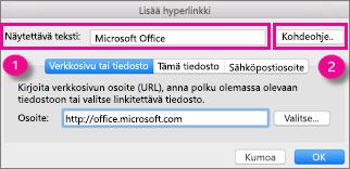 Office for Macin hyperlinkkivalintaikkuna