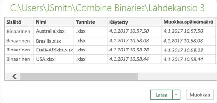 Yhdistä binaarit -valintaikkuna ja yhdistettävät tiedostot