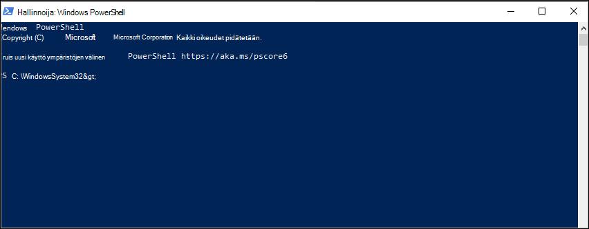Näyttö kuva: PowerShellin commanmand-kehote C:\Windows\System32-kansiossa