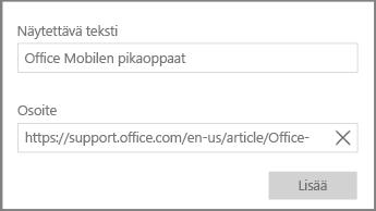 Näyttökuva valintaikkunasta, jossa lisätään hypertekstilinkki OneNote for Windows 10:ssä.