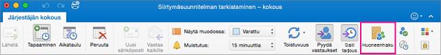 Outlookin valintanauha, jossa Huoneenhaku-painike näkyy korostettuna