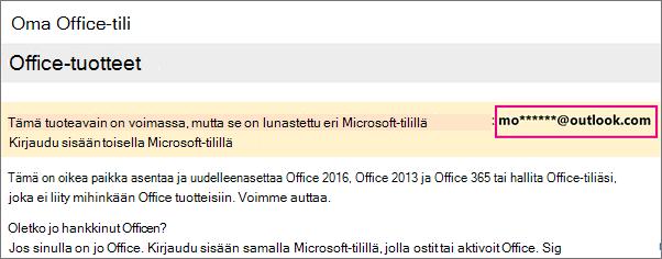 Oma Office-tilini -sivu, jossa näkyy osittainen Microsoft-tili